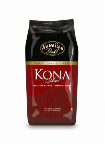 Hawaiian Gold Kona Coffee Medium Roast Whole Bean Perspective: front
