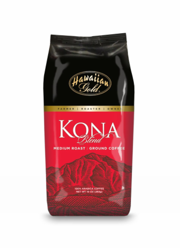 Hawaiian Gold Kona Blend Coffee Medium Roast Perspective: front