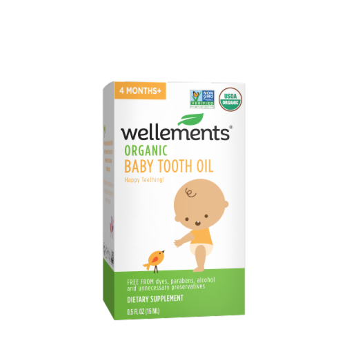 Wellements Organic Baby Tooth Oil Perspective: front