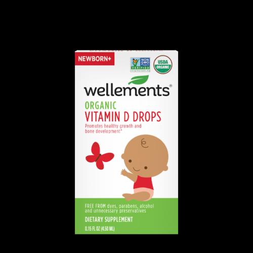 Wellements Organic Vitamin D Drops Perspective: front