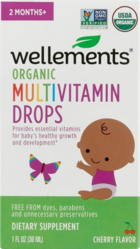 Wellements Organic Multi-Vitamin Cherry Flavor Drops Perspective: front