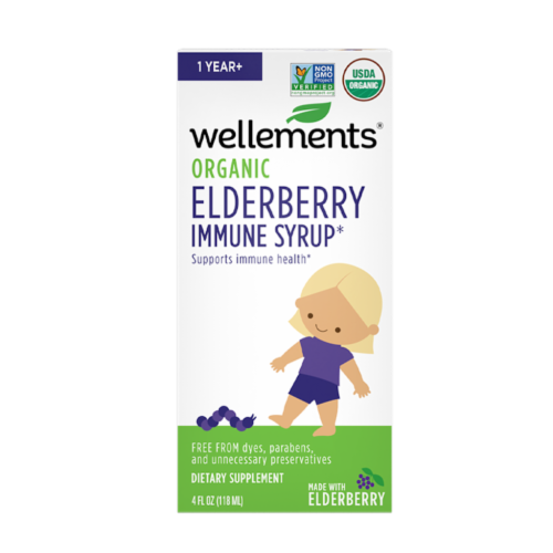 Wellements Organic Elderberry Immune Syrup Perspective: front