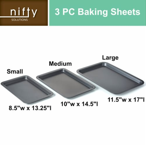 Nifty Set of 3 Non-Stick Cookie and Baking Sheets – Non-Stick Coated Steel, Dishwasher Safe Perspective: front