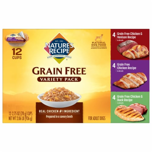 Nature's Recipe Grain Free Variety Pack Dog Food 12 Count Perspective: front