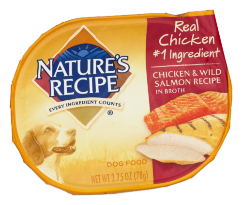 Nature's Recipe Chicken & Wild Salmon in Broth Wet Dog Food Perspective: front