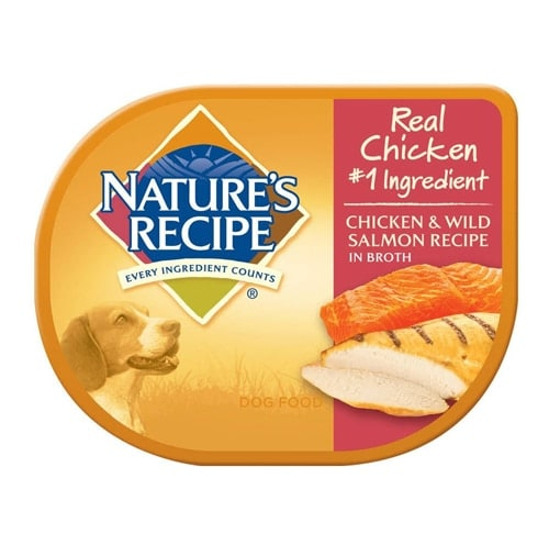 Nature's Recipe Chicken & Wild Salmon Recipe in Broth Wet Dog Food Perspective: front