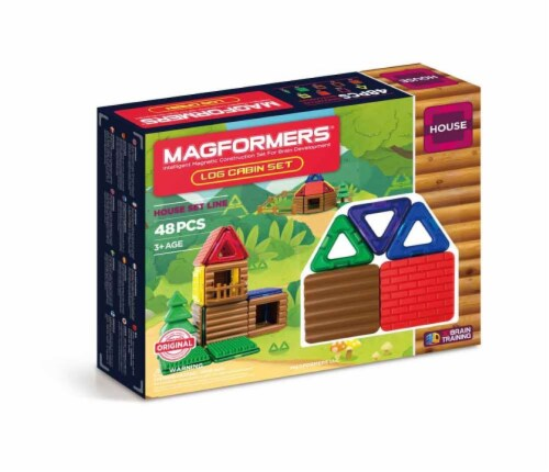 MAGFORMERS® Log Cabin Building Set 48 Piece Perspective: front