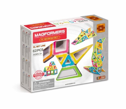 MAGFORMERS® XL Neon Building Set 62 Piece Perspective: front
