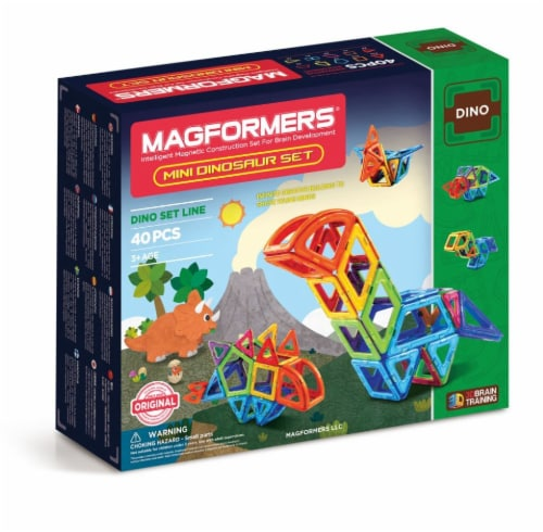 MAGFORMERS® Mini Dinosaur Set 40 Piece Perspective: front