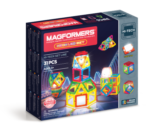 MAGFORMERS® Neon LED Building Set 31 Piece Perspective: front
