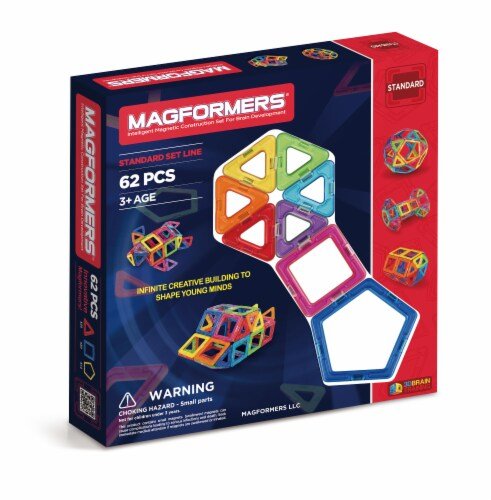 MAGFORMERS® Building Set 62 Piece - Rainbow Perspective: front