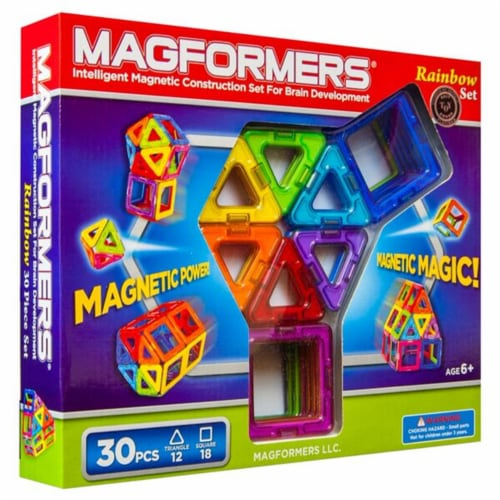 Magformers Rainbow 30 Piece Magnetic Construction Set Perspective: front