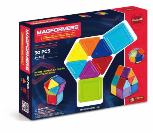 MAGFORMERS® Solids Opaque Building Set 30 Piece - Rainbow Perspective: front