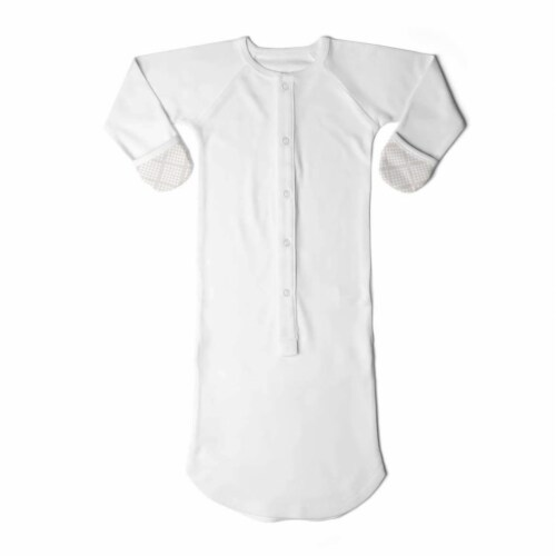 Goumikids Baby Sleeper Gown Organic Bamboo Sleepsack Pajama Clothes, 3-6M Cream Perspective: front