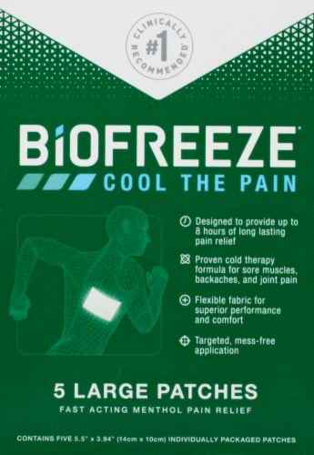 Biofreeze Large Pain Relief Patches Perspective: front