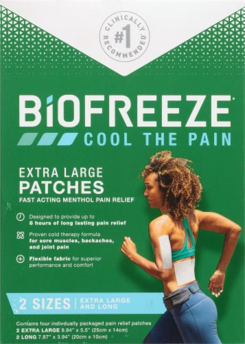 Biofreeze Extra Large Pain Relief Patches Perspective: front