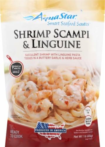 Aqua Star Smart Seafood Sautes Shrimp Scampi & Linguine Perspective: front