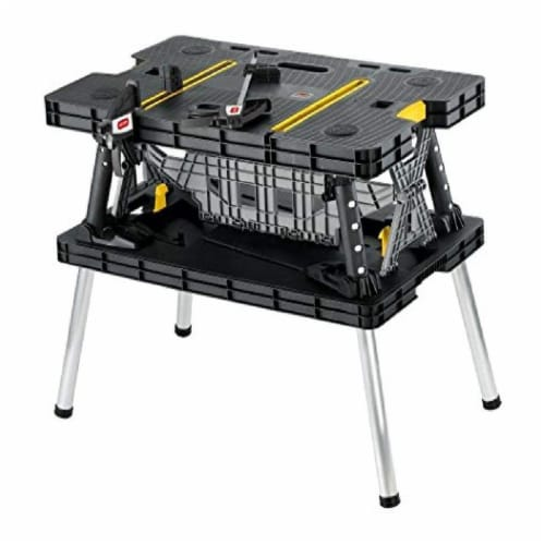 Keter Folding Portable Workbench Sawhorse - Black/Yellow Perspective: front