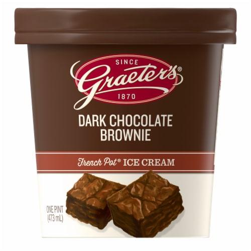 Graeter's Dark Chocolate Brownie Ice Cream Perspective: front