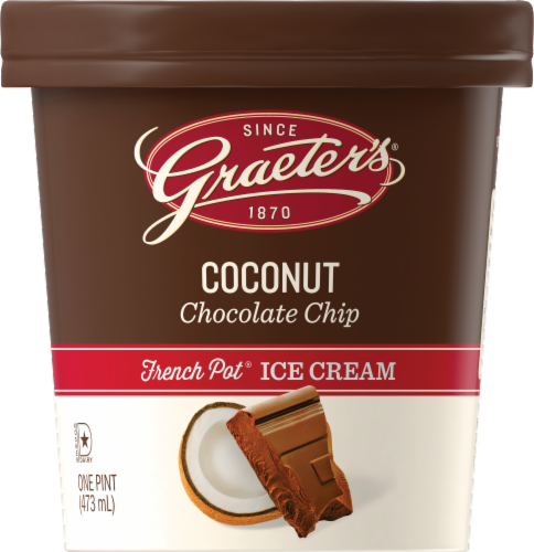 Graeter's Coconut Chocolate Chip Ice Cream Perspective: front
