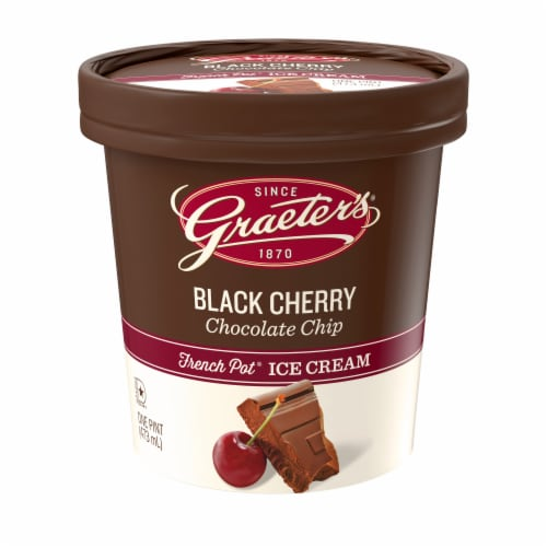 Graeter's Black Cherry Chocolate Chip Ice Cream Perspective: front