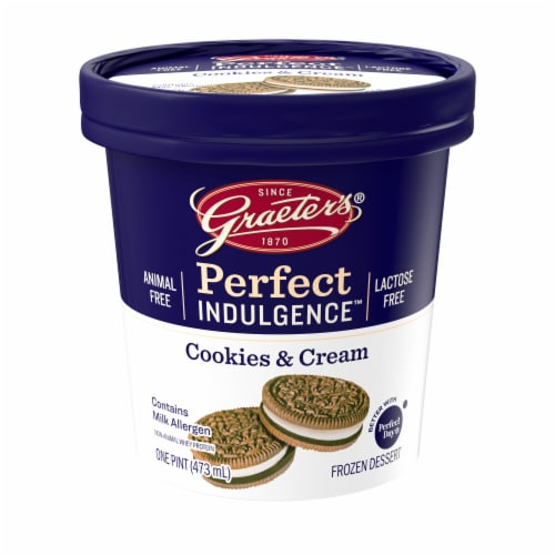 Graeter's Perfect Indulgence Cookies and Cream Animal Free Dairy Frozen Dessert Perspective: front