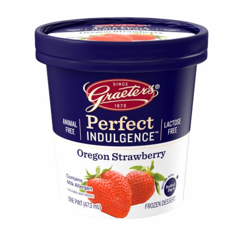 Graeter's Perfect Indulgence Oregon Strawberry Animal Free Dairy Frozen Dessert Perspective: front