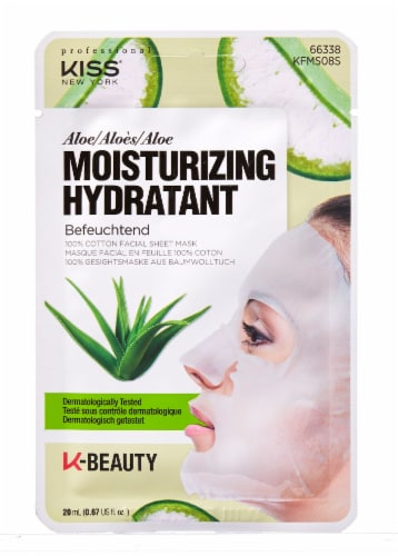 Kiss Moisturizing Aloe 100% Cotton Facial Sheet Mask Perspective: front