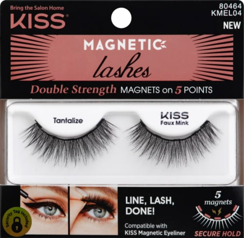 Kiss 04 Tantalize Magnetic Eyeliner Faux Mink False Lashes Perspective: front