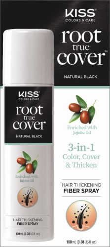 Kiss Root True Cover Natural Black Hair Thickening Fiber Spray Perspective: front