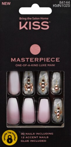 Kiss Masterpiece Roses and Gold Press On Nails Perspective: front