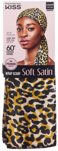 Kiss Satin Wrap Scarf - Leopard Perspective: front