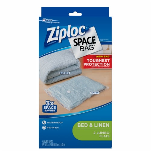Ziploc Space Bag Bed & Linen Jumbo Flats Storage Bags - Clear Perspective: front
