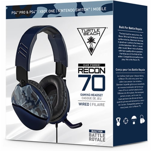Turtle Beach® Recon 70 Blue Camo Multiplatform Gaming Headset Perspective: front
