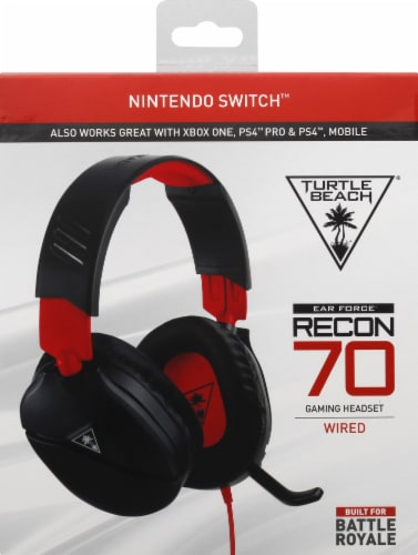 Turtle Beach Nintendo Switch Ear Force Recon 70 Wired Gaming Headset - Black/Red Perspective: front
