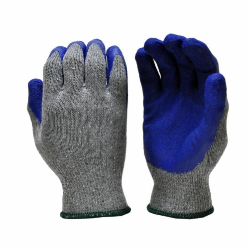 Big Time Products 241914 Mens Master Mechanic Blue Crinkle Latex Rubber Coating Glove, Medium Perspective: front