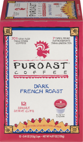 Puroast Dark French Roast coffee Pods Perspective: front