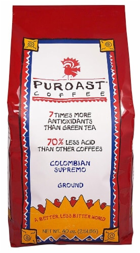 Puroast  Low Acid Coffee Colombian Supremo Blend Drip Grind Bag Perspective: front