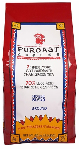Puroast  Low Acid Coffee Organic House Blend Drip Grind Perspective: front