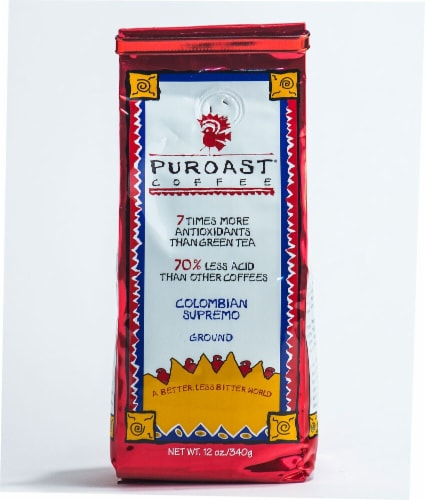 Puroast Coffee Colombian Supremo Ground Coffee Perspective: front