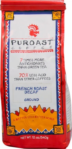 Puroast  Low Acid Ground Coffee Decaf   French Roast Perspective: front