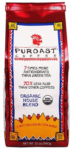 Puroast Organic Low Acid House Blend Whole Bean Coffee Perspective: front