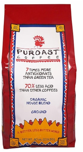 Puroast Organic Low Acid House Blend Ground Coffee Perspective: front