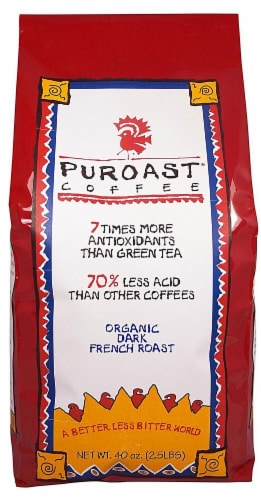 Puroast Organic Low Acid Whole Bean French Roast Coffee Perspective: front