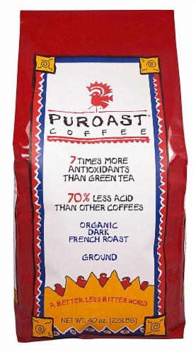 Puroast Organic Low Acid French Roast Ground Coffee Perspective: front