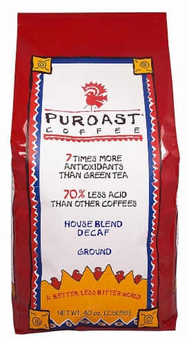 Puroast  Low Acid Coffee House Blend Natural Decaf Drip Grind Perspective: front