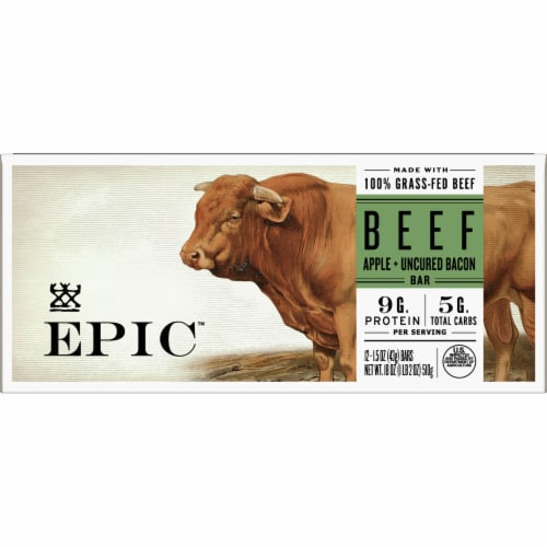 Epic Beef Apple + Uncured Bacon Bars Perspective: front
