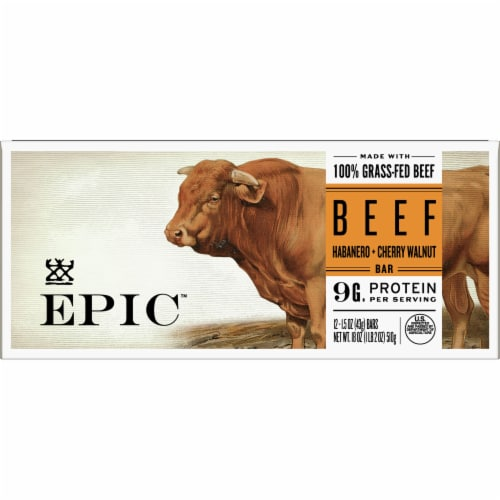 EPIC Habanero + Cherry Walnut Beef Bars Perspective: front