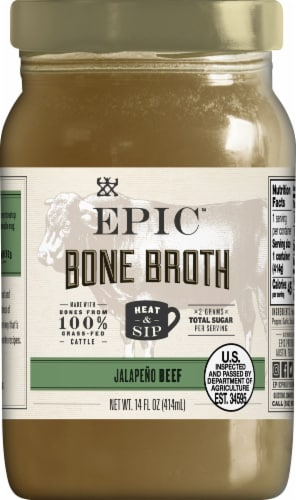 EPIC Artisanal Beef Jalapeno Sea Salt Bone Broth Perspective: front