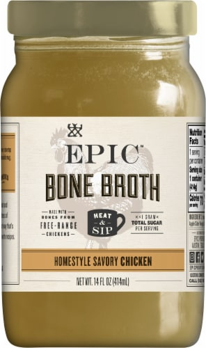EPIC Artisanal Homestyle Savory Chicken Bone Broth Perspective: front